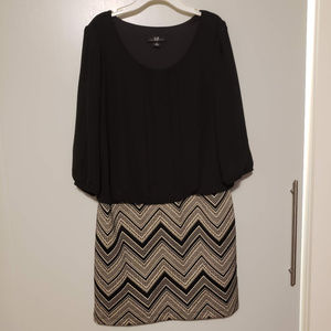 AGB Dress with sheer / slitted sleeves, Sz 6
